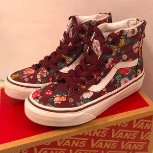 Vans Floral Burgundy Maroon High Tops Little Kids 12 EUC Original box and Tissue
